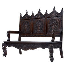19th Century Anglo Indian Carved Rosewood Settle Bench