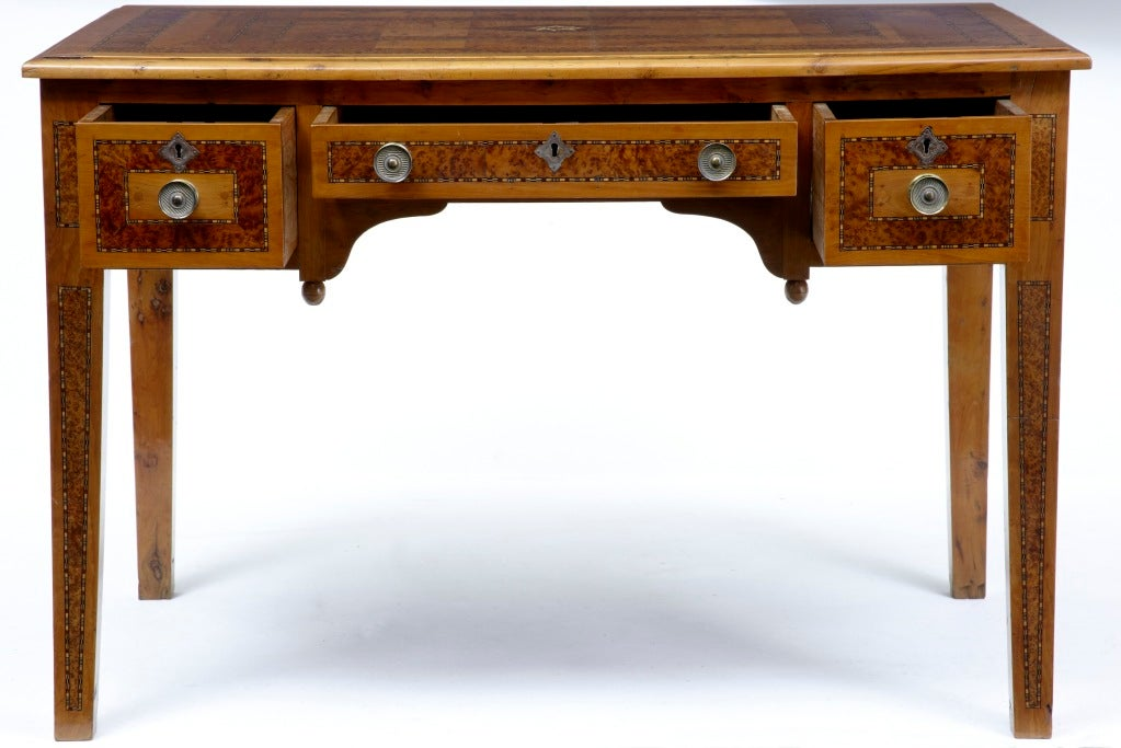 19th Century Antique Continental Inlaid Yew Wood Desk At