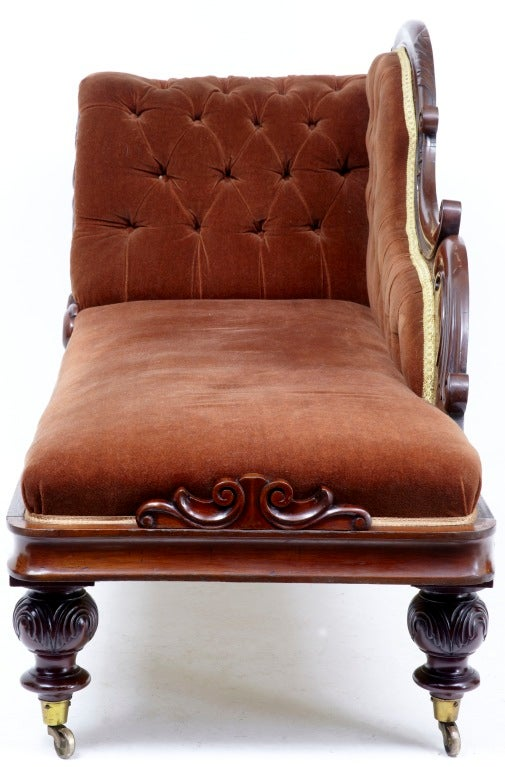 19th Century Antique Victorian Chaise Lounge Day Bed At