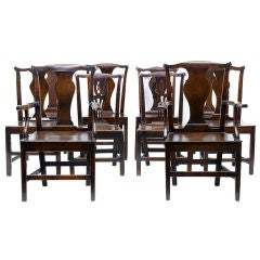 Harlequin Set Of 10 18th Century Antique Oak Dining Chairs
