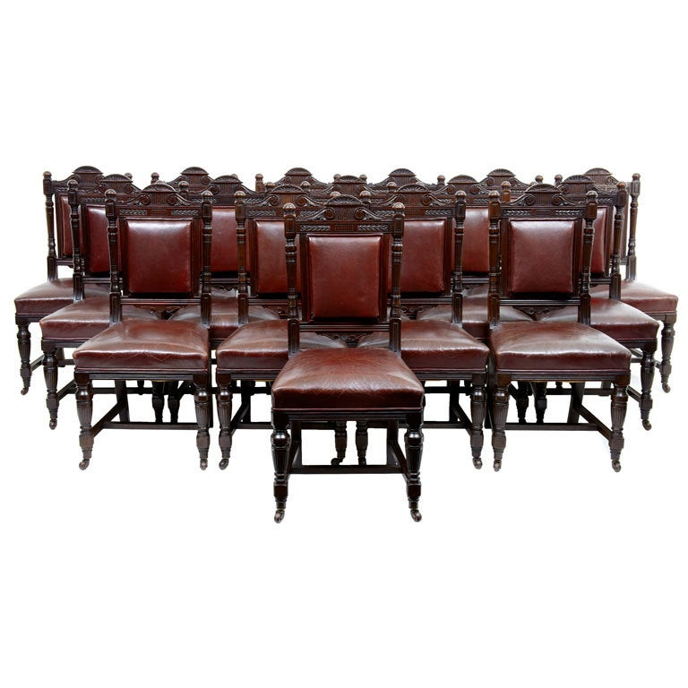 Rare Set Of 16 19th Century Antique Carved Mahogany