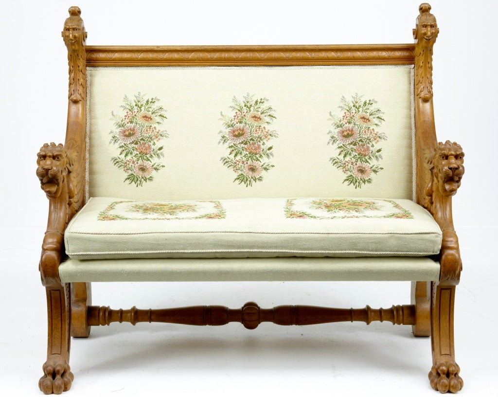 Th century antique carved oak lionshead bench seat at