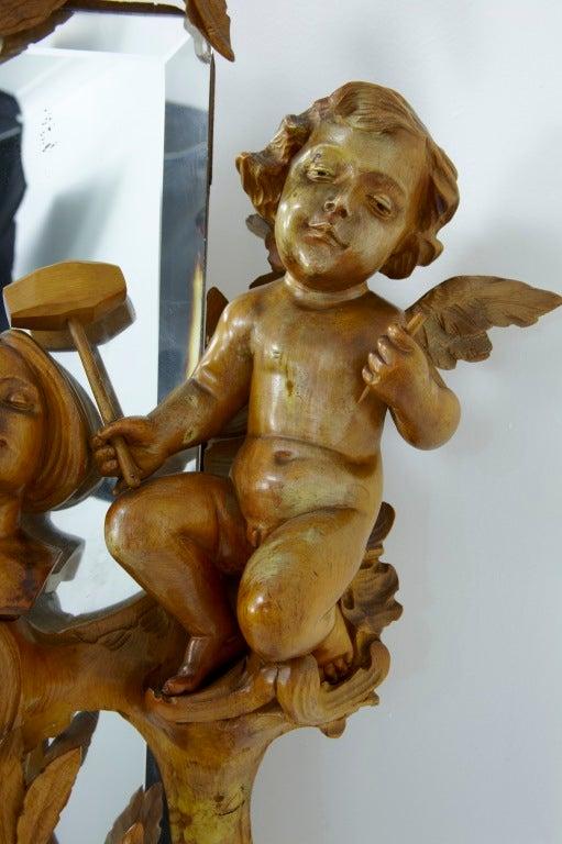 Late 19th Century Antique Carved Wood Cherub Cheval Mirror