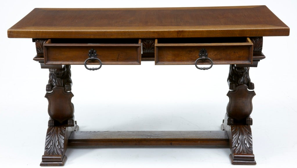 19th CENTURY ANTIQUE FRENCH OAK LIONHEAD REFECTORY TABLE DESK A SUPERBLY  CARVED TABLE WHICH WE THINK - 19th Century Antique French Oak Lionhead Refectory Table Desk At 1stdibs