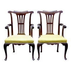 Pair of 19th Century Antique Mahogany Armchairs