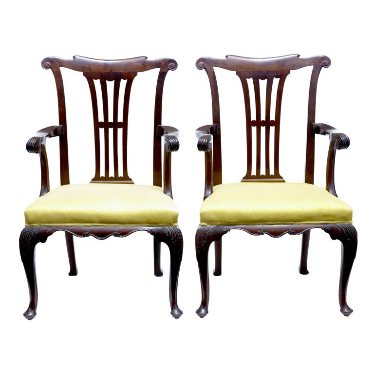 Pair of 19th Century Antique Mahogany Armchairs