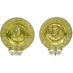 Pair of 19th Century Antique Brass Memorial Plaque Sconces
