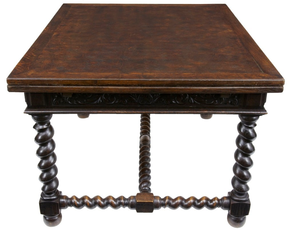 Th century antique parquetry oak carved dining table at