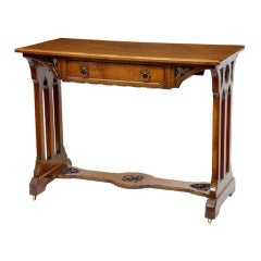 19th Century Antique Oak Arts And Crafts Side Table