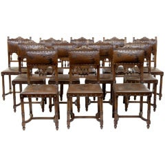 Set Of 12 19th Century Embossed Leather Walnut Dining Chairs