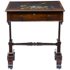 19th Century Regency Antique Rosewood Painted Slate Top Table