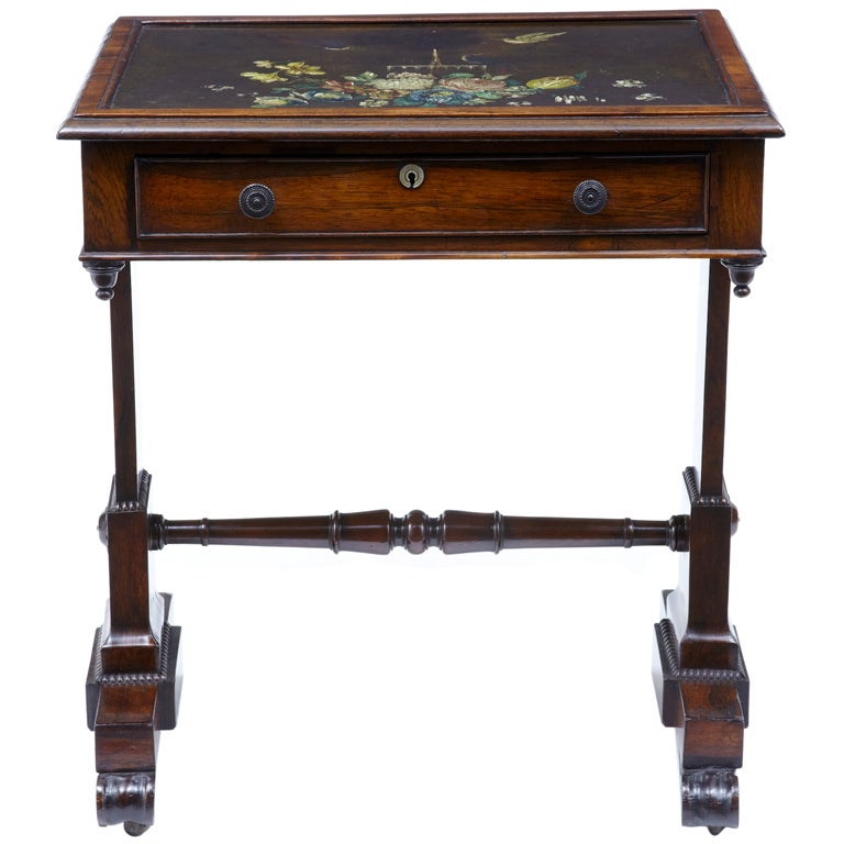 Beau 19th Century Regency Antique Rosewood Painted Slate Top Table For Sale
