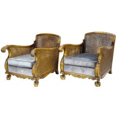 Pair Of Early 20th Century Antique Swedish Birch Bergere Chairs