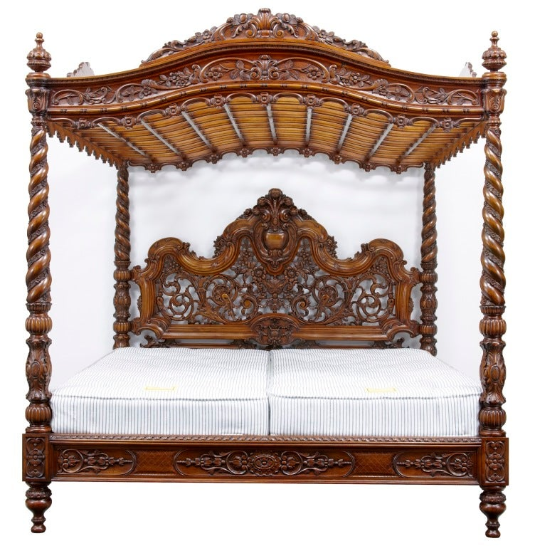 20th century baroque rococo carved walnut four poster bed for Baroque style bed