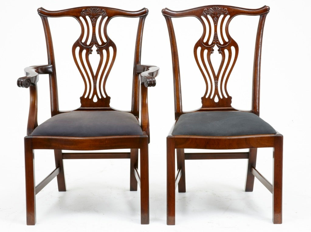 this set of solid mahogany 10 2 chippendale influenced dining chairs