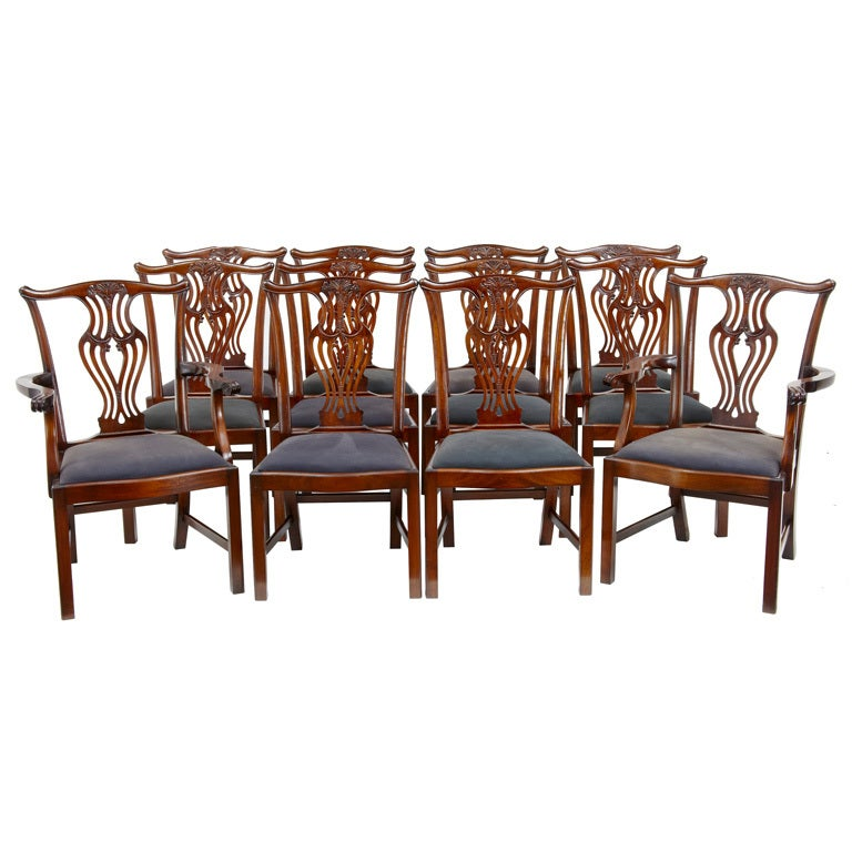set of solid mahogany 10 2 chippendale influenced dining