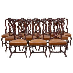 Set Of 12 Laquered Carved And Leather Dining Chairs