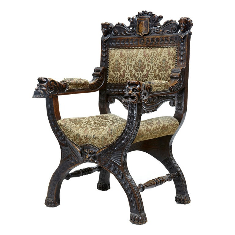 19th Century Antique Carved Oak X Frame Throne Chair At