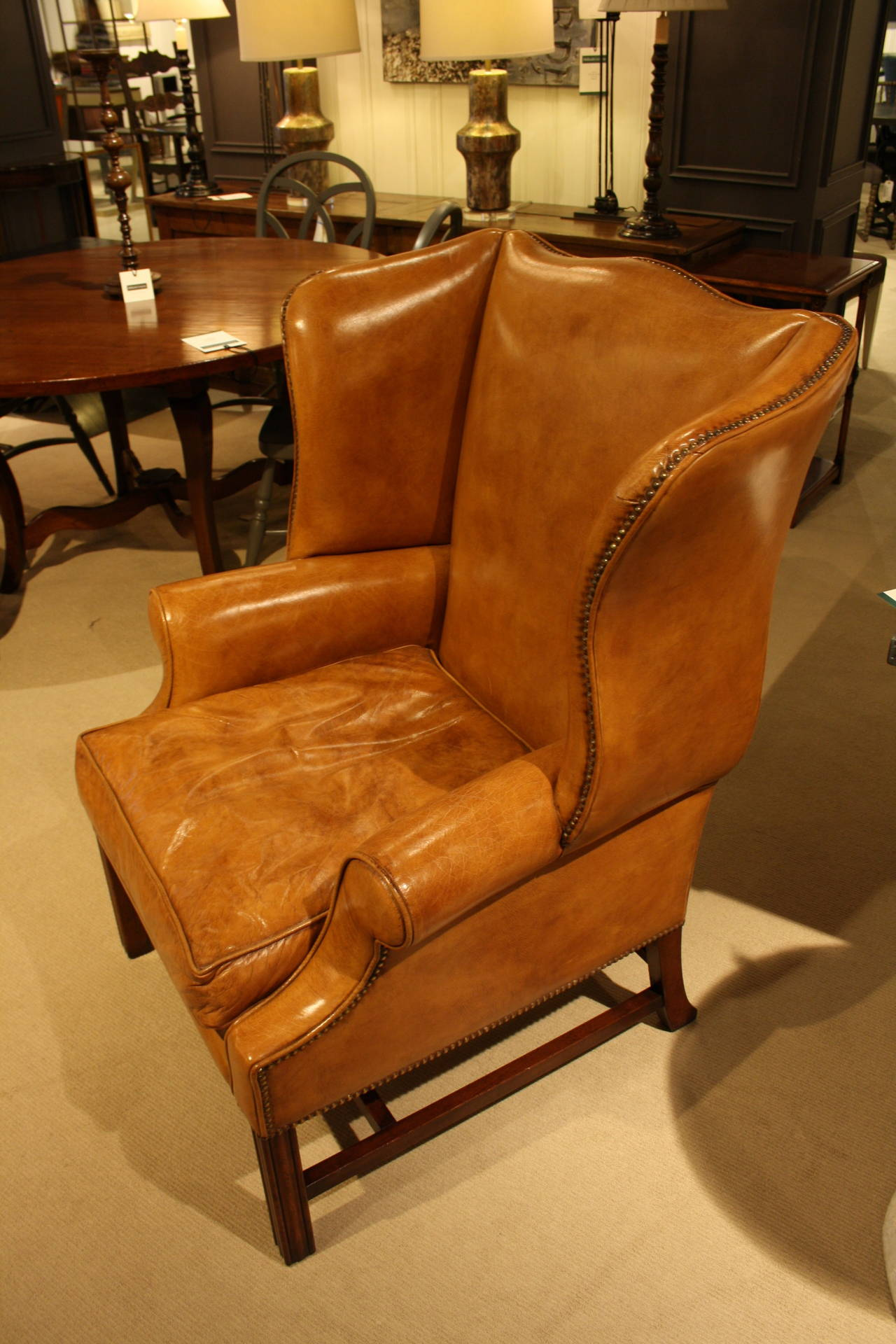 Sudbury Wing Chair in Light Tan Leather at 1stdibs