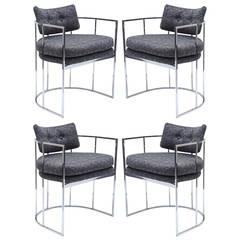 Four Chrome Milo Baughman Dining Chairs