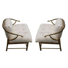 Chinoiserie Brass Chair Designed by Charles Pengally for Weiman