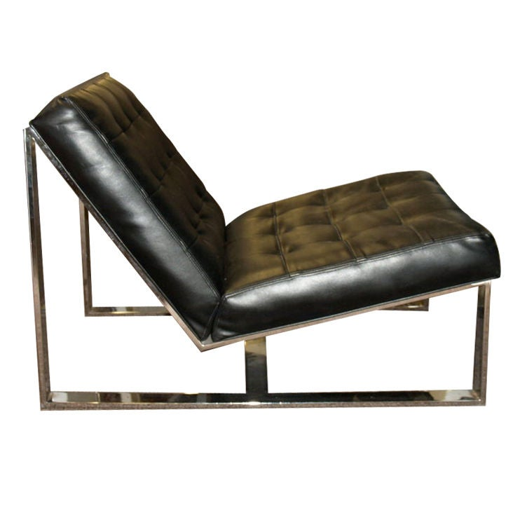 Milo Baughman Chrome Slipper Chair