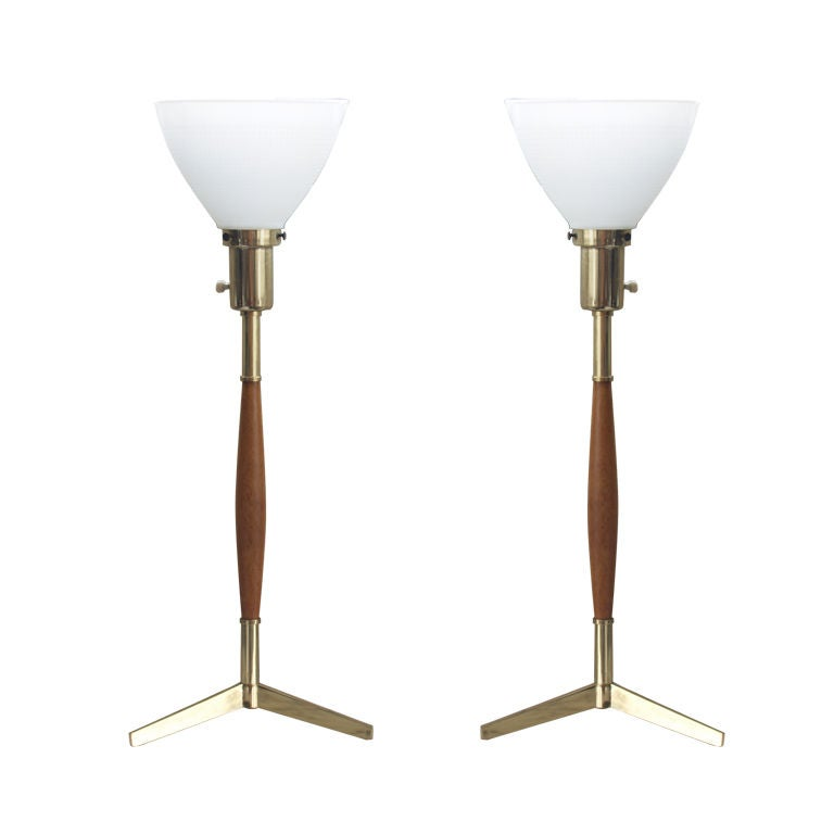 Pair Of Two Mid Century Brass And Wood Tripod Table Lamps For Sale