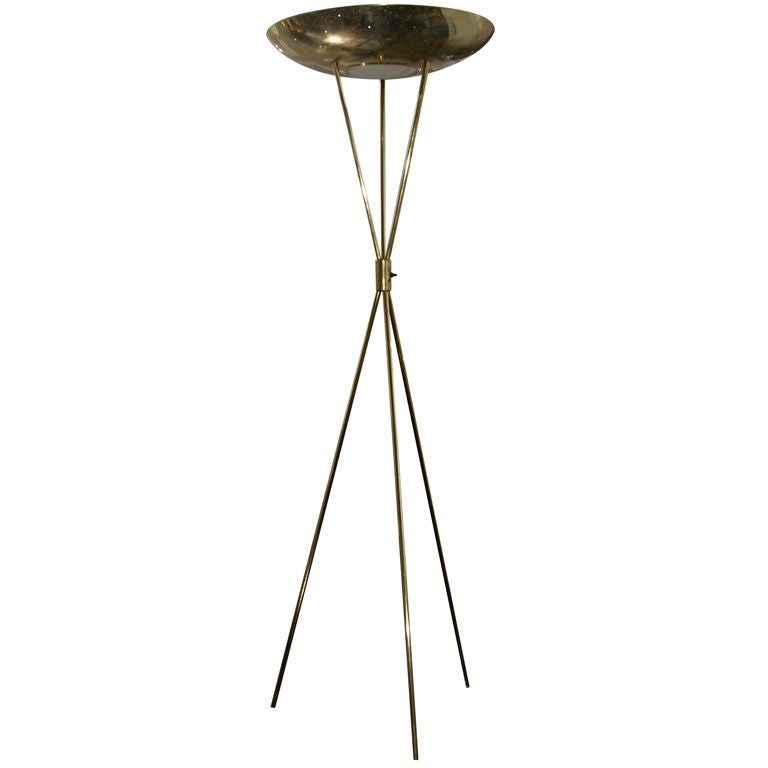 brass tripod mid century floor lamp at 1stdibs. Black Bedroom Furniture Sets. Home Design Ideas