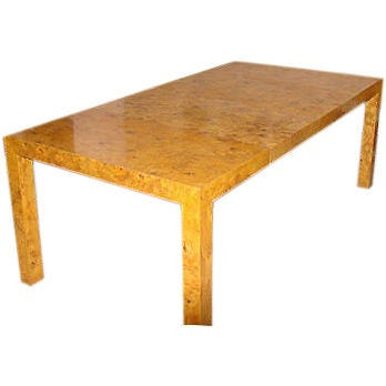 Milo Baughman Dining Table In Burl Wood With 2 Leaves At 1stdibs