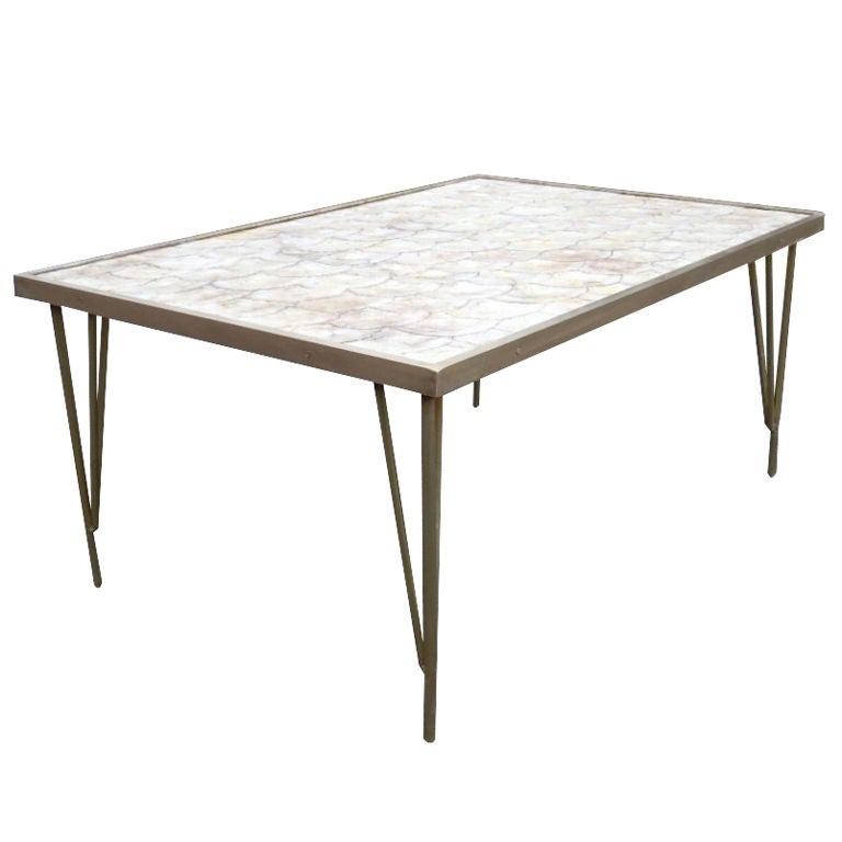 Round White Capiz Coffee Table: Bronze And Capiz Shell Cocktail Table For Sale At 1stdibs