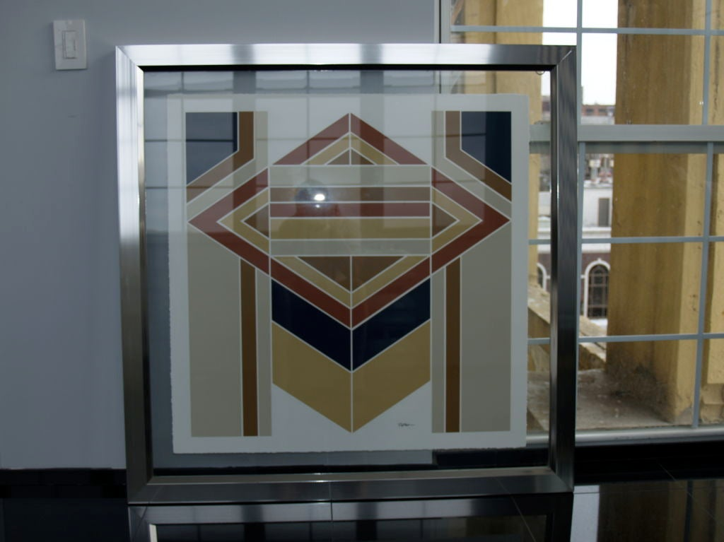 1970s Geometric Lithograph In Floating Chrome And Glass