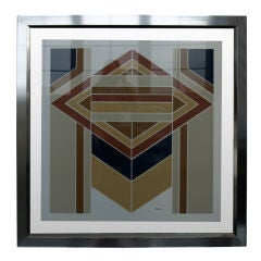 1970er, Geometrische Lithographie in einem Fließenden Rahmen aus Chrom und Glas