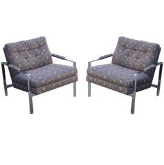 a pair of 1970's Milo Baughman chrome arm chairs (2)