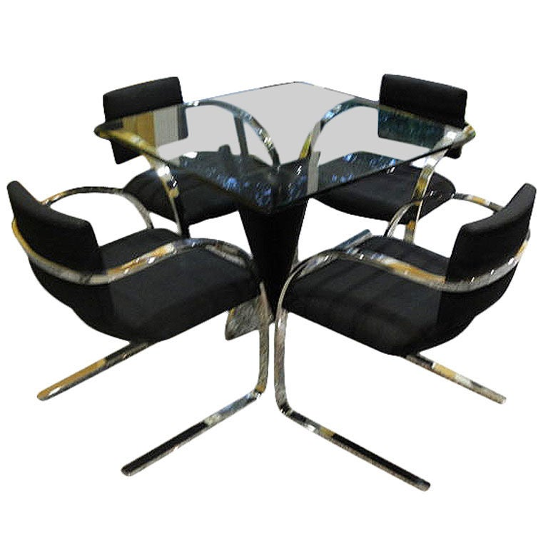 brueton vintage chrome table and chairs dining set at 1stdibs
