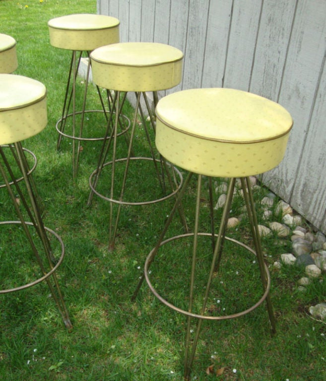 American 3 industrial barstools with swivel seats For Sale