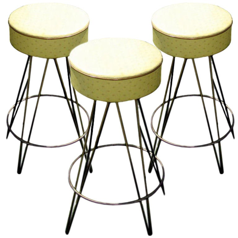 3 industrial barstools with swivel seats For Sale