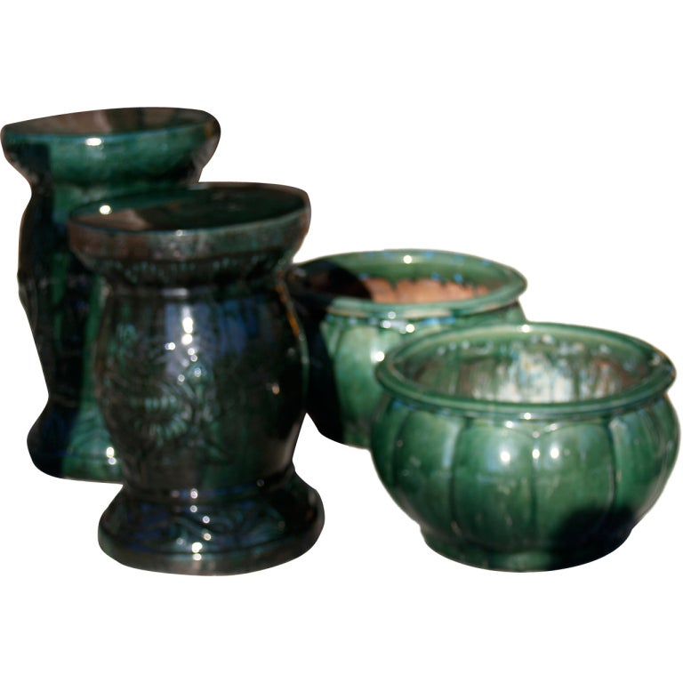 Emerald Green Pottery Urns And Garden Stools Tables