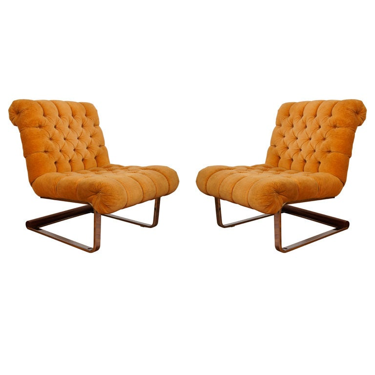 Pair Of Milo Baughman Chrome And Wood Slipper Chairs At
