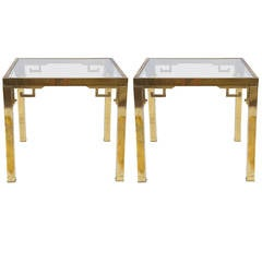 Pair of Mastercraft End Tables with Greek Key Details