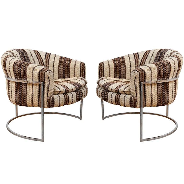 Milo baughman chrome thin frame barrel chairs at 1stdibs