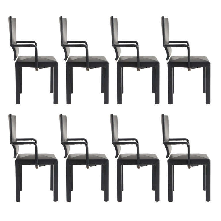 Set of 8 leather dining chairs by paolo piva for b b for B b italia dining room chairs