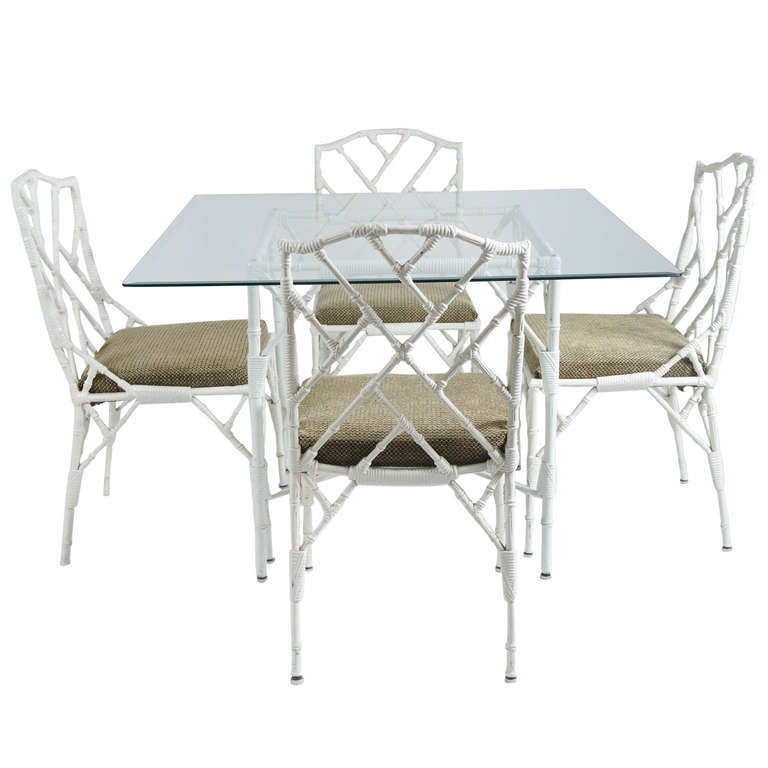 Faux Bamboo Metal Dinette Set with Four Matching Chairs