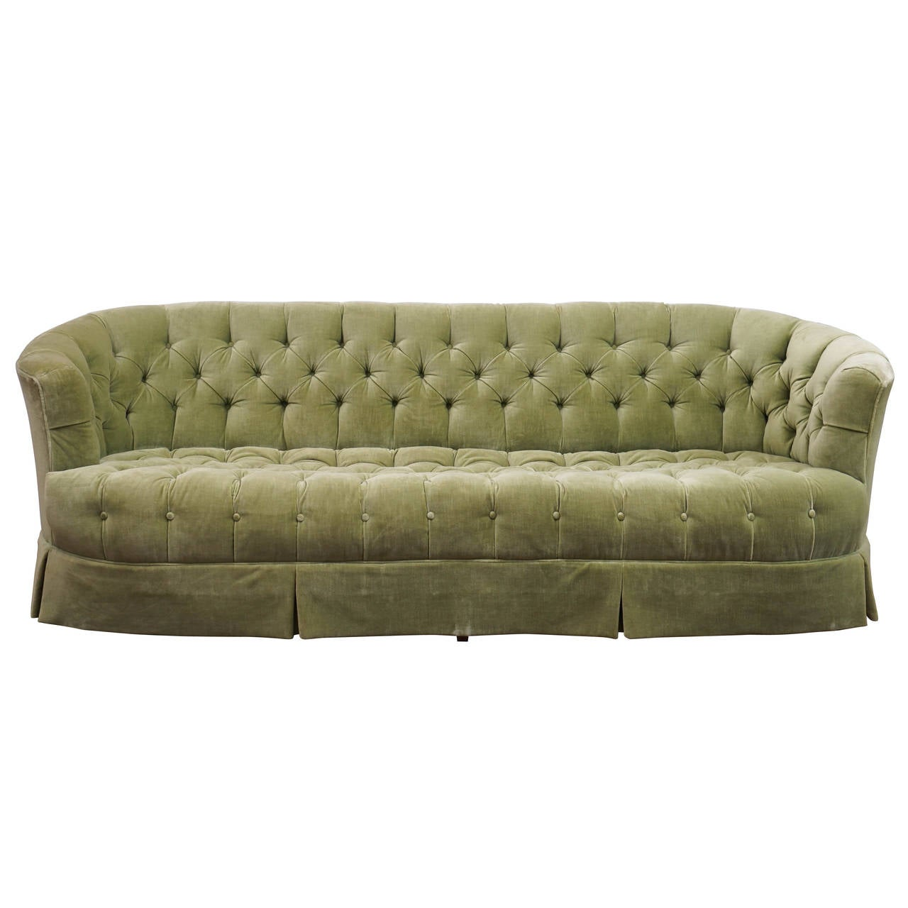 Hollywood regency chesterfield mint green velvet tufted for Tufted couches for sale