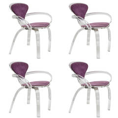 set of 4 lucite pretzel chairs after cherner available as single or pair
