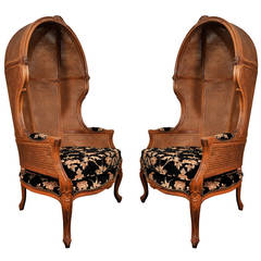 Pair of Porters Chairs by Weiman, Hooded Chair