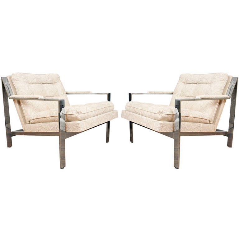 Pair Cy Mann armchairs after Milo Baughman Lounge Chairs