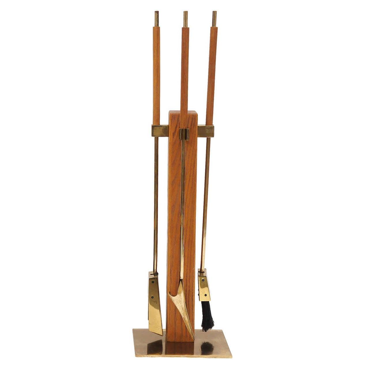 Modernist brass fire tools
