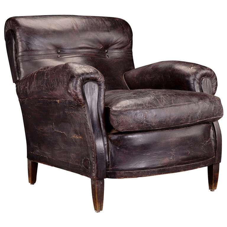 Oversized leather library chair at 1stdibs - Library lounge chairs ...