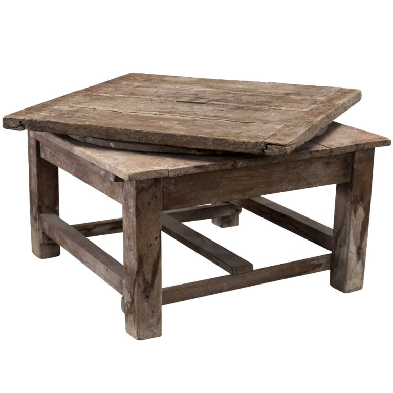 Primitive Swivel Sculpture Table At 1stdibs