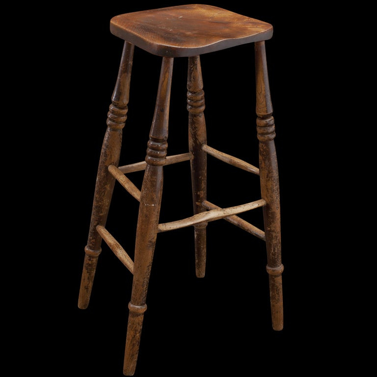 Tall Wooden Work Stool At 1stdibs